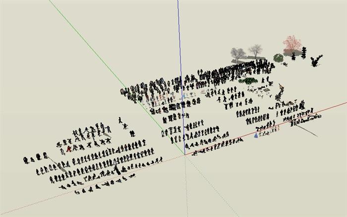 效果图场景人物详细su模型(1)