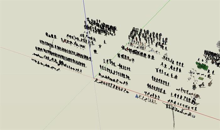 效果图场景人物详细su模型(4)