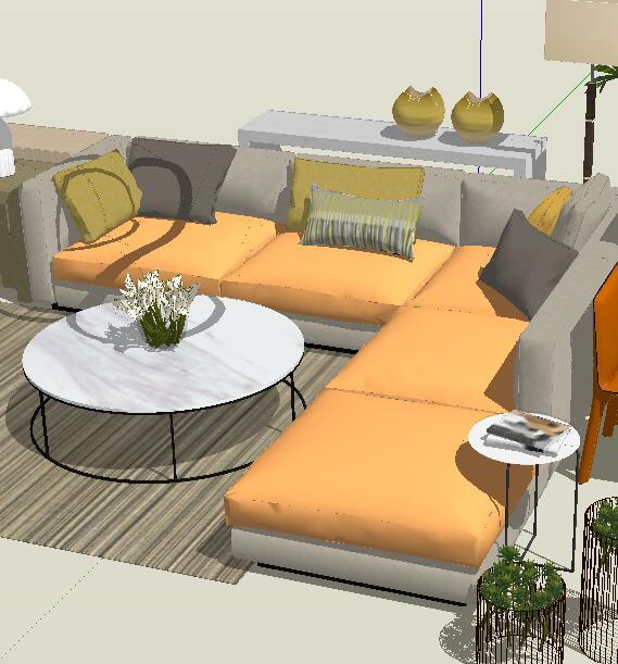 现代风格客厅餐厅家具组合详细su模型(2)