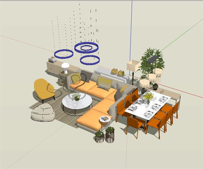 现代风格客厅餐厅家具组合详细su模型(1)