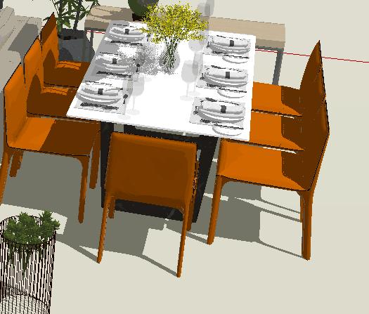 现代风格客厅餐厅家具组合详细su模型(3)