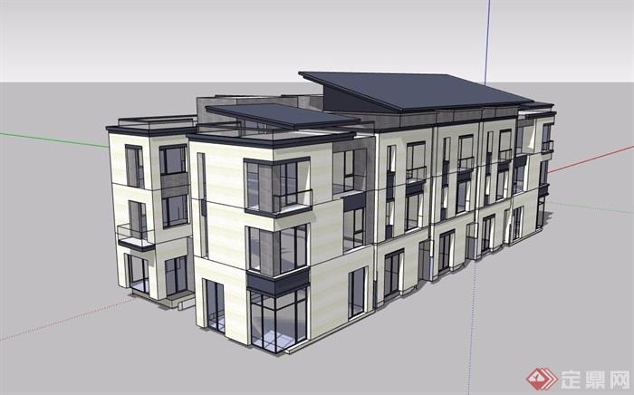 三层详细的居住楼su模型