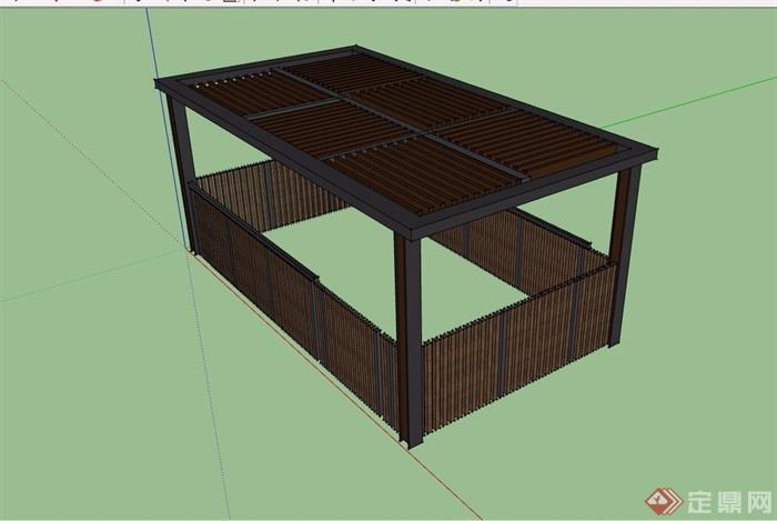 现代园林景观详细的木质廊架su模型