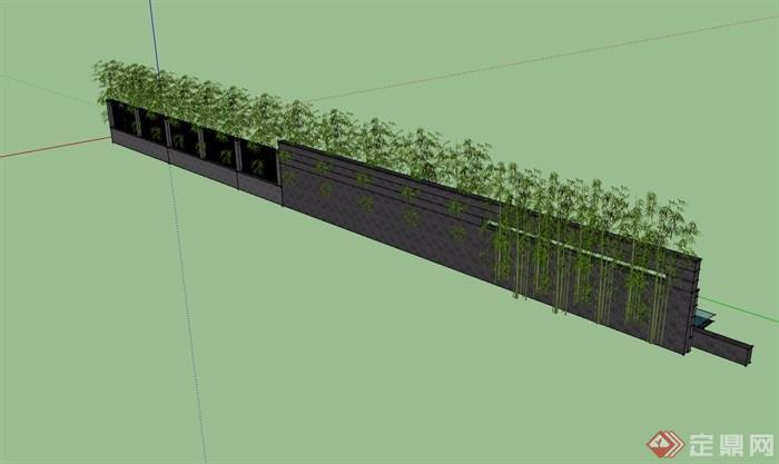 水池景墙围墙设计su模型