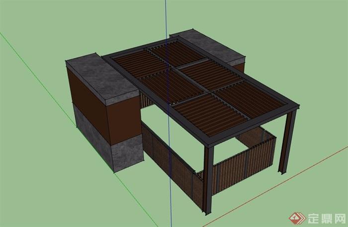 园林景观详细的廊架素材su模型
