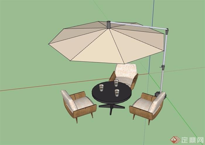 伞桌椅详细素材设计su模型
