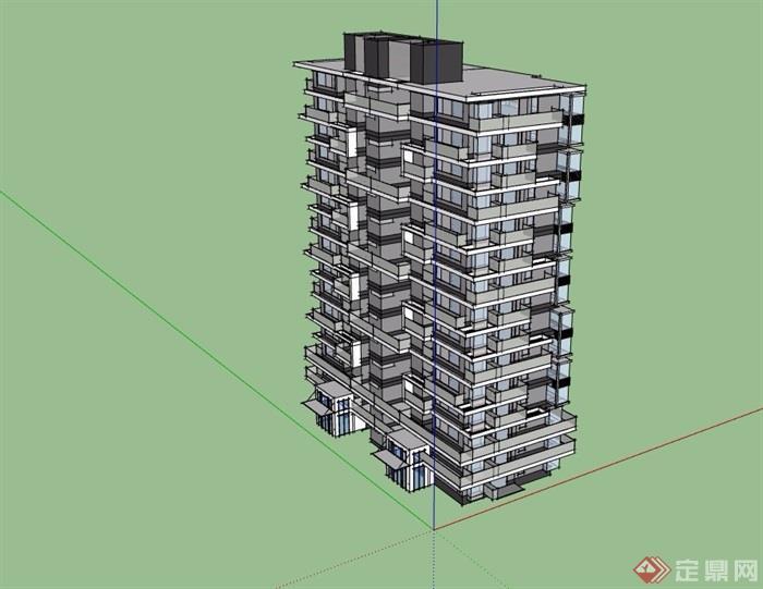 15层住宅建筑楼建筑su模型