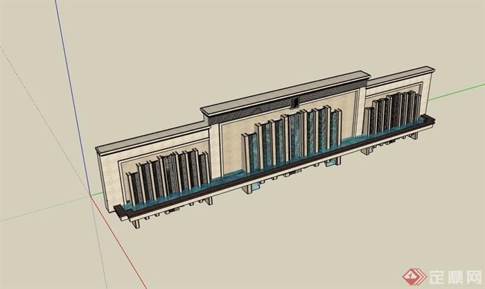 详细的水景墙su模型