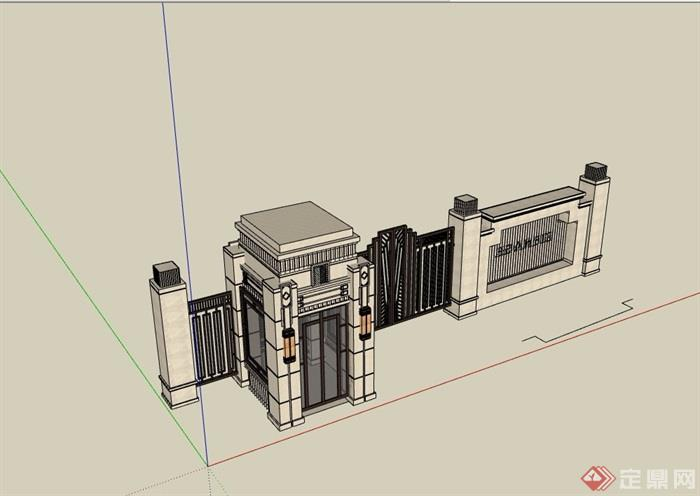 景墙大门素材设计su模型