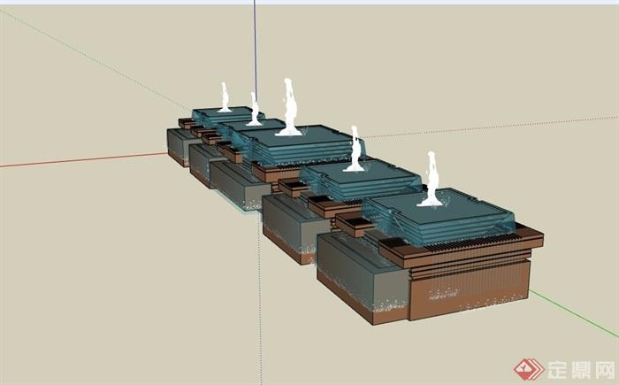 喷泉详细的水池设计su模型