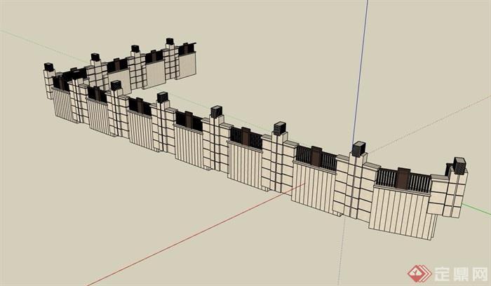 详细独特的围墙设计su模型