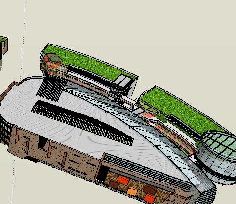 现代风格商业街详细su模型(2)