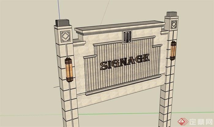 详细的标志景观墙设计su模型