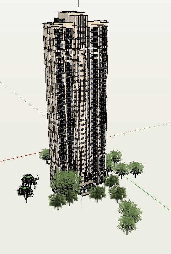 现代风格住宅设计精细su模型(2)