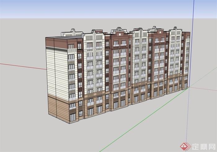 详细的多层小区居住建筑楼su模型