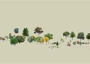 效果场景各种类型树详细SU(草图大师)模型