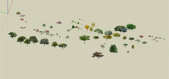 效果场景各种类型树详细SU模型(3)