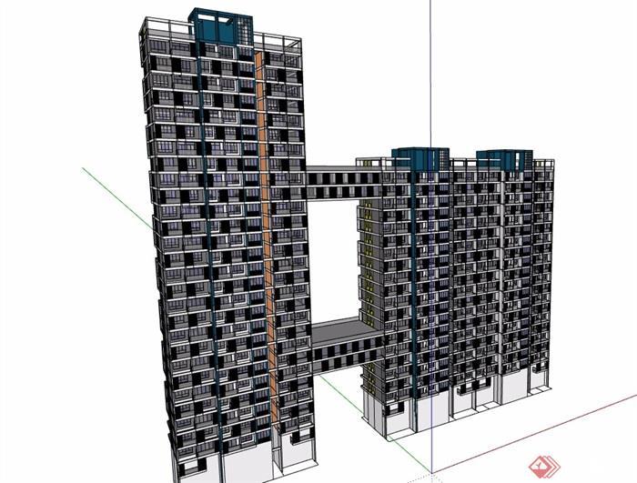 住宅详细的建筑楼设计su模型