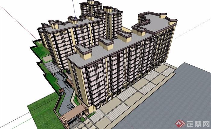 详细的多栋住宅小区楼建筑su模型