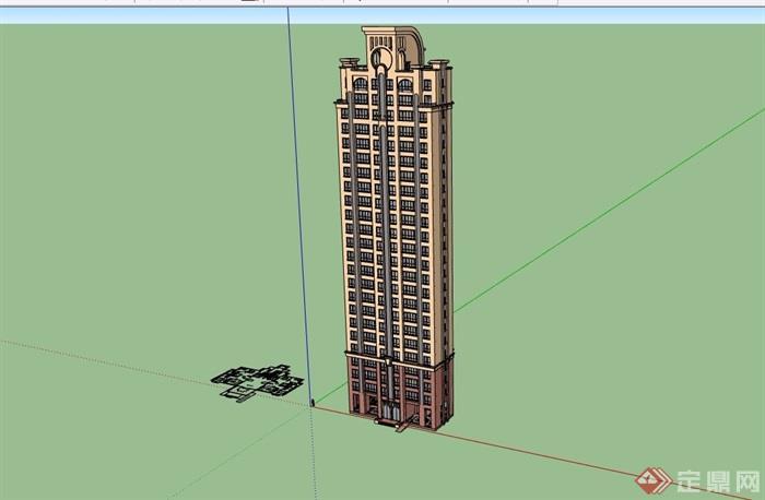 详细的居住高层建筑楼su模型