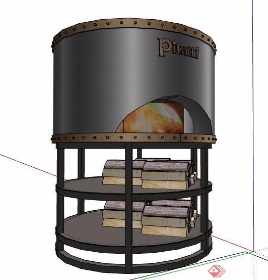 圆筒状置物架设计su模型