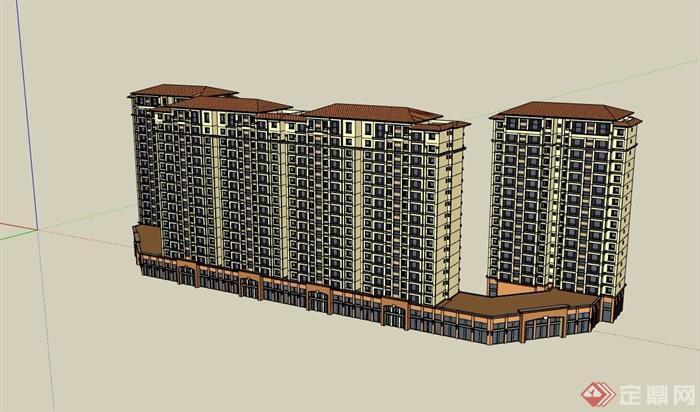 歐式風格詳細的商業住宅高層建筑樓su模型