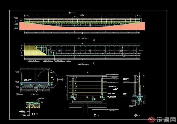 现代详细钢结构桥设计cad施工图,图纸包含了详细的材料标注,整体绘制