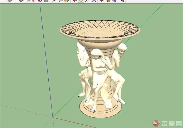人物详细的雕塑小品素材su模型