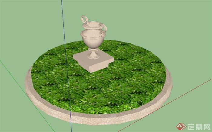 圆形花坛奖杯雕塑素材设计su模型