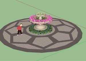 欧式详细的花钵花坛SU(草图大师)模型