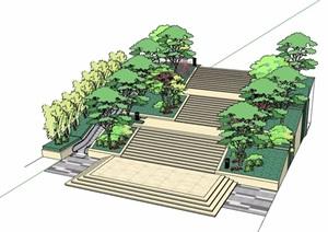 园林景观台阶踏步素材设计SU(草图大师)模型