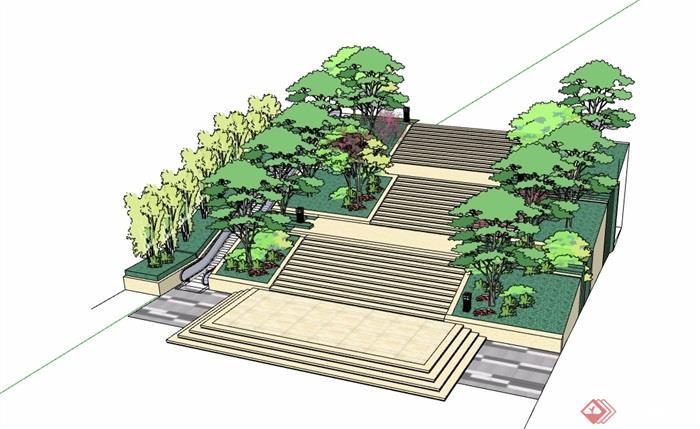 园林景观台阶踏步素材设计su模型