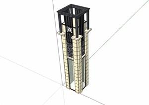 详细的新古典风格景观柱素材SU(草图大师)模型
