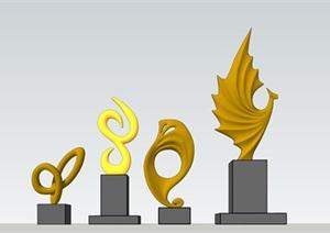 现代雕塑SU(草图大师)精细精致模型