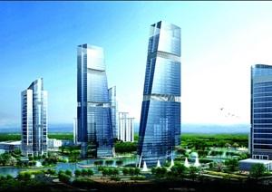 某城市中央商务区规划设计效果图及平面图