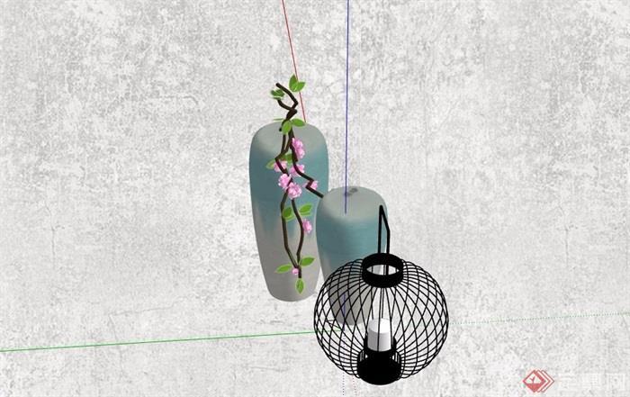 花瓶插花及灯饰素材设计su模型