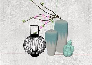 花瓶插花及灯饰素材设计SU(草图大师)模型