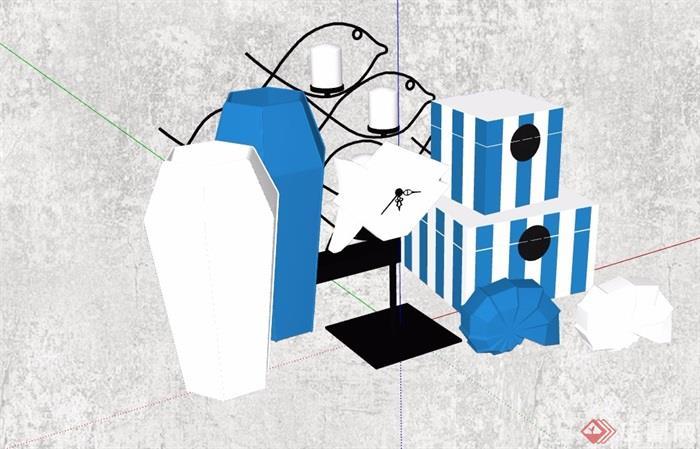 室内独特装饰摆件素材su模型