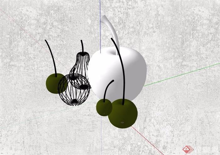 果子装饰素材设计su模型