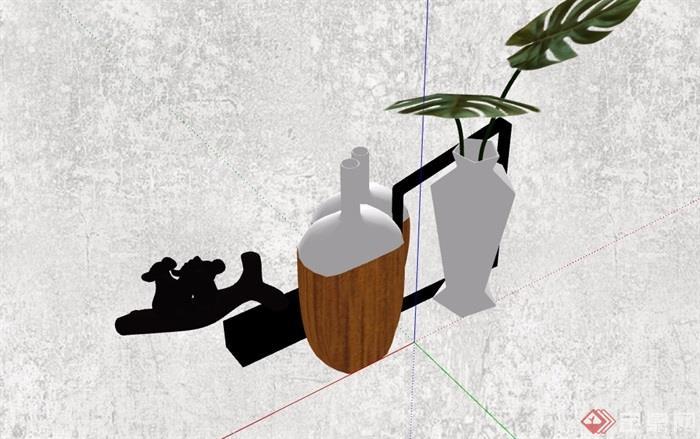 详细完整的装饰花瓶素材su模型
