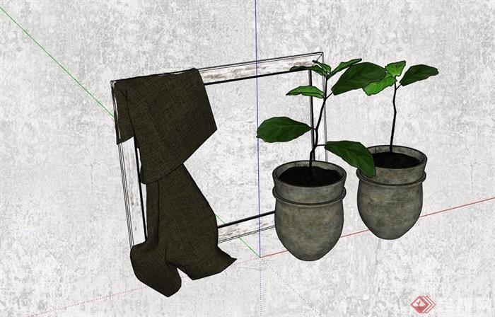 盆栽装饰素材设计su模型
