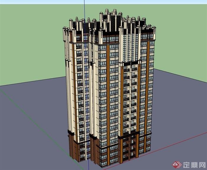 某详细的高层完整住宅建筑楼设计su模型