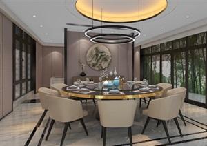 现代轻奢华餐厅SU(草图大师)模型