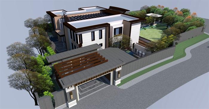 别墅庭院景观绿化设计cad 绿化 交通 植物种类 平面图