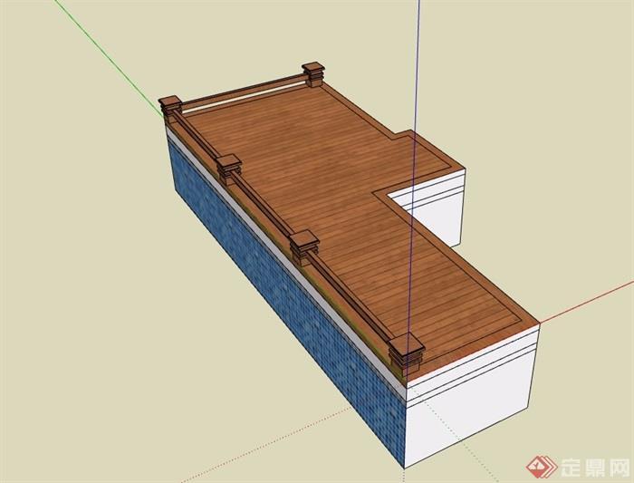 木栈道及栏杆素材设计su模型