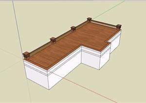 木栈道及栏杆素材设计SU(草图大师)模型