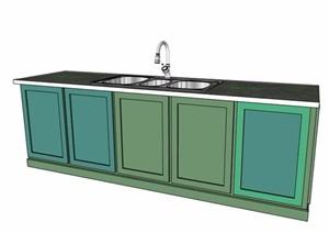 现代风格绿色系洗菜台设计SU(草图大师)模型