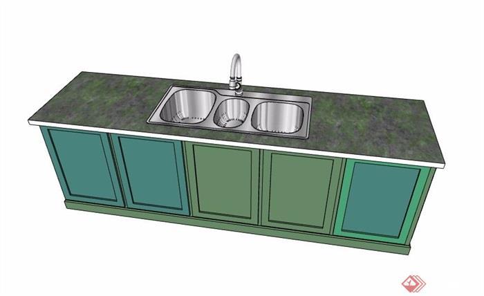现代风格绿色系洗菜台设计su模型