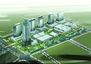 某城市商业文化中心区设计效果图