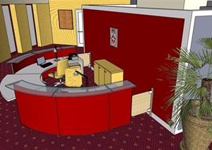 现代风格酒店弧形服务台整体场景设计SU(草图大师)模型